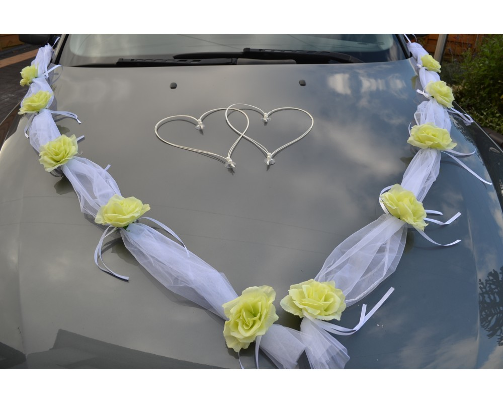 Wedding car decoration white garland with yellow roses wedding car decoration junglespirit Gallery