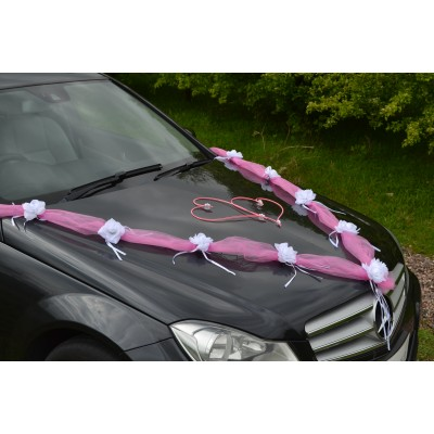 pink / pink  garland  wedding car decoration