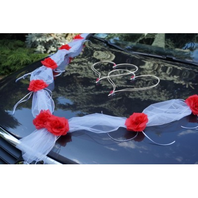 ivory garland with red roses wedding car decoration ribbon bows