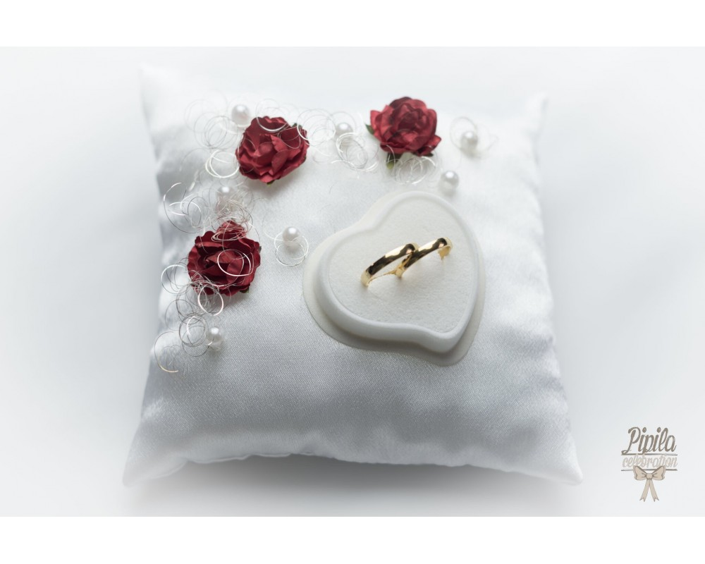 new wedding ring pillow cushion engagement ring holder p27 red roses thread - Wedding Ring Holder