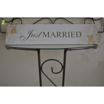 wedding registration plate no 2 JUST MARRIED gold